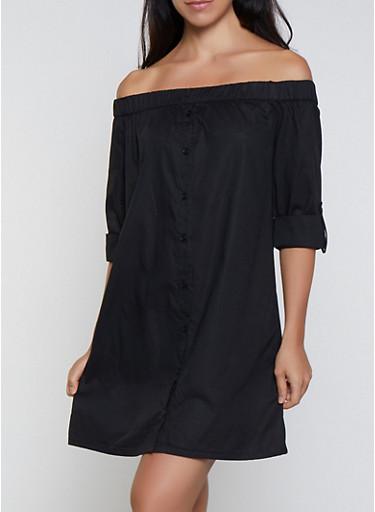 Off the Shoulder Shirt Dress,BLACK,large