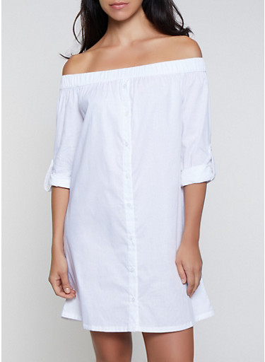 Off The Shoulder Shirt Dress by Rainbow