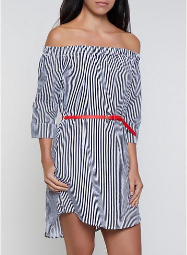 Belted Off the Shoulder Striped Dress,NAVY,large