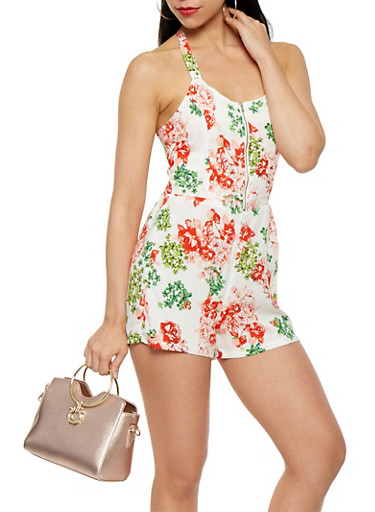 Printed Halter Neck Romper,ORANGE,large