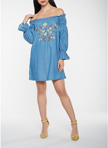 Off the Shoulder Embroidered Chambray Dress,LIGHT WASH,large