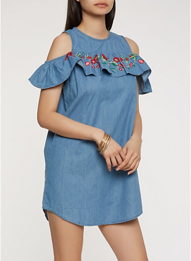 Embroidered Chambray Cold Shoulder Dress,MEDIUM WASH,large