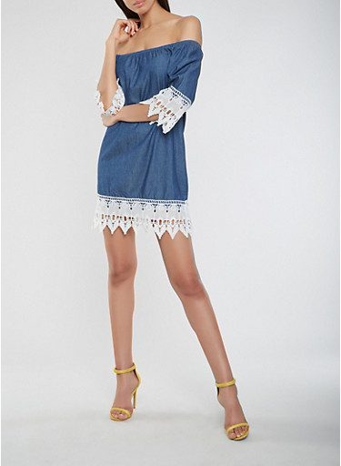 Chambray Off the Shoulder Lace Trim Dress,MEDIUM WASH,large
