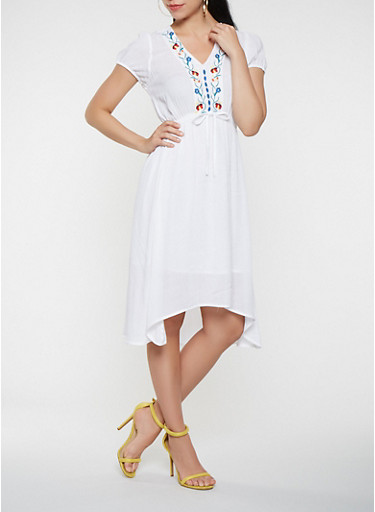 Embroidered Gauze Knit High Low Dress,WHITE,large