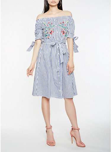 Striped Embroidered Off the Shoulder Dress,WHITE/BLUE,large