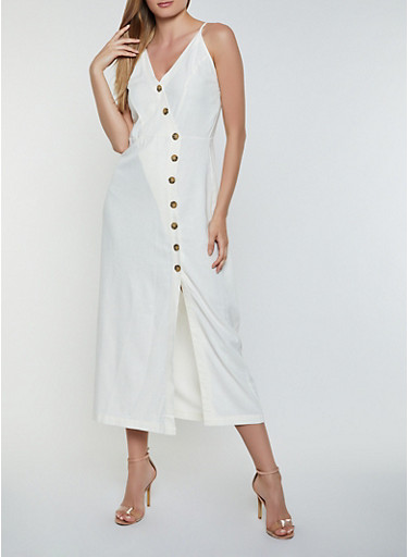 Linen Button Front Cami Dress,IVORY,large