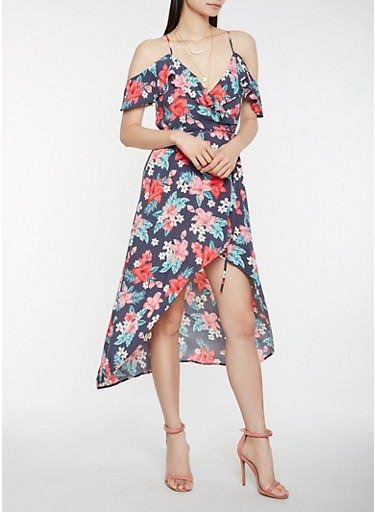 Floral Off the Shoulder High Low Dress,NAVY,large