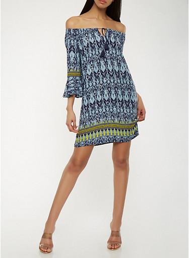 Printed Off the Shoulder Peasant Dress,NAVY,large