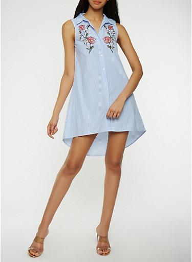 Striped High Low Shirt Dress,BLUE,large