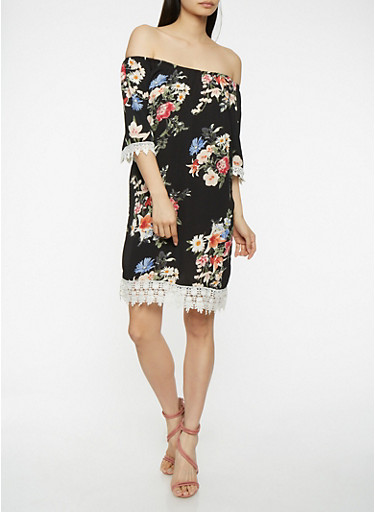 Floral Off the Shoulder Crochet Trim Dress,BLACK,large