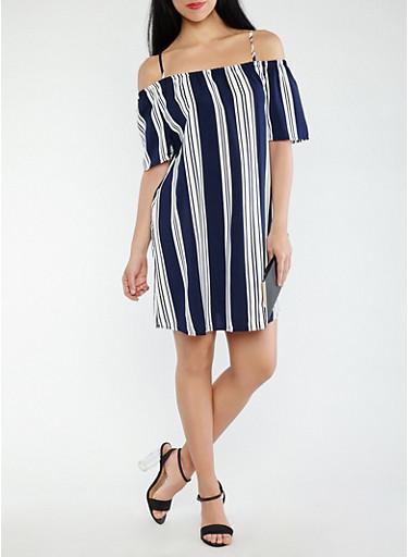 Striped Off the Shoulder Shift Dress,NAVY,large