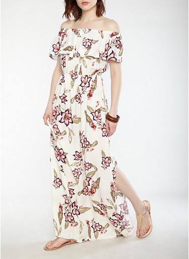 Floral Off the Shoulder Maxi Dress,IVORY,large