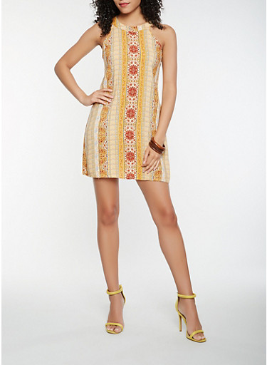 Border Print Shift Dress,GOLD,large