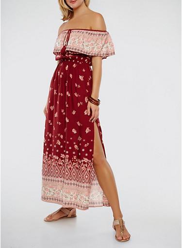 Border Print Off the Shoulder Maxi Dress,WINE,large