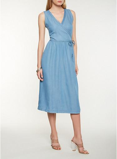 Chambray Midi Wrap Dress,MEDIUM WASH,large