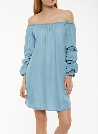 Chambray Off the Shoulder Shift Dress,BLUE,large