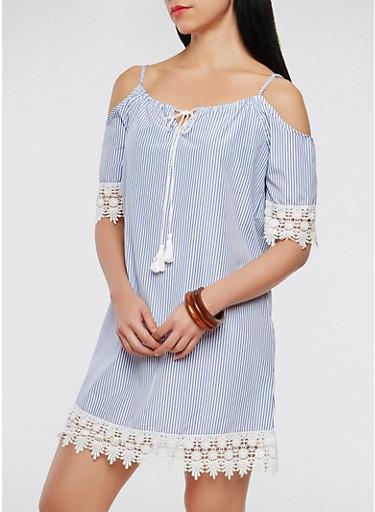Striped Crochet Trim Off the Shoulder Dress,RYL BLUE,large