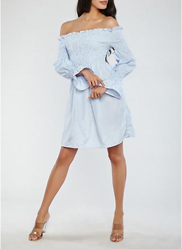 Striped Off the Shoulder Dress,BABY BLUE,large