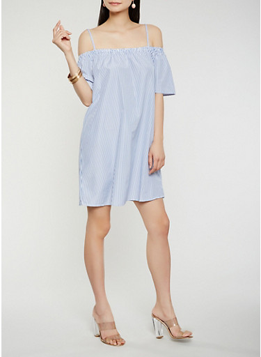 Striped Off the Shoulder Dress,WHITE/BLUE,large
