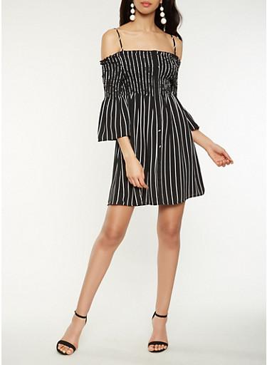 Striped Off the Shoulder Dress,BLACK/WHITE,large