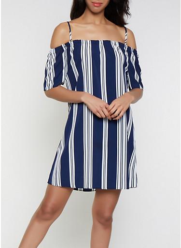 Off the Shoulder Striped Shift Dress,WHITE,large