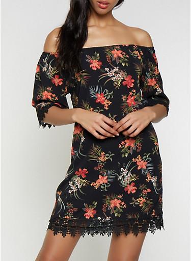 Crochet Trim Off the Shoulder Floral Dress,BLACK,large
