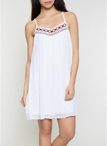 Crochet Detail Sleeveless Dress,WHITE,large