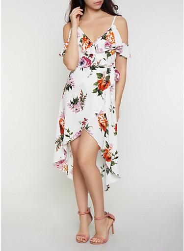 Floral Cold Shoulder Faux Wrap Dress,IVORY,large