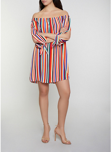 Striped Split Sleeve Off the Shoulder Dress,MULTI COLOR,large