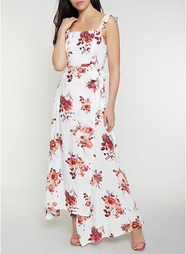 Floral Ruffle Open Back Wrap Dress,IVORY,large