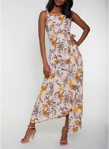 Floral Zip Back Faux Wrap Dress,MAUVE,large