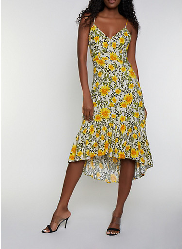 Floral Leopard Lace Up Back High Low Dress,YELLOW,large