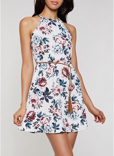 Braided Belt Floral Skater Dress,IVORY,large
