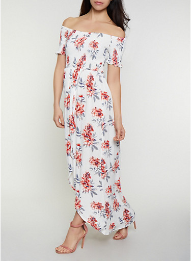 Floral Smocked Of the Shoulder Tulip Hem Dress,IVORY,large