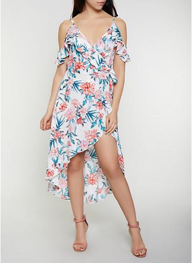 Floral Crepe Cold Shoulder Wrap Dress,IVORY,large