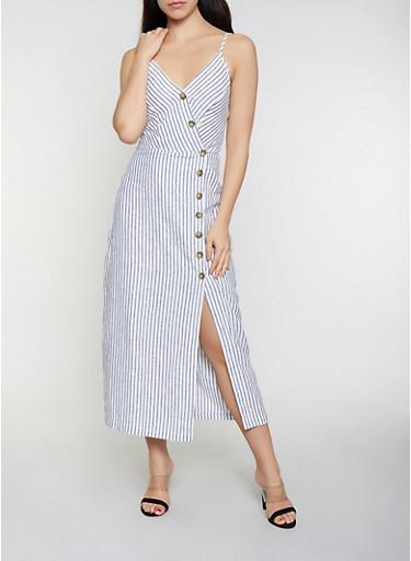Striped Linen Wrap Dress,WHT-BLK,large