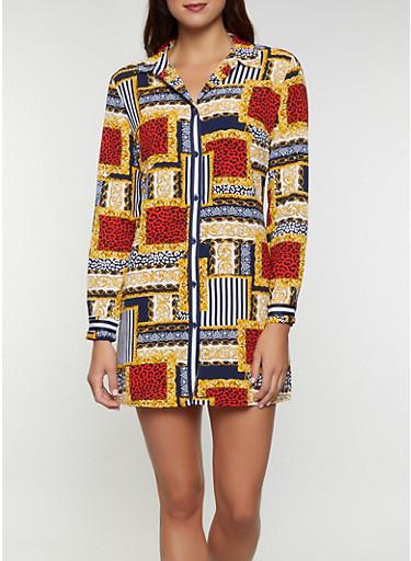 Mixed Print Shirt Dress,NAVY,large