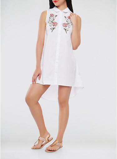Floral Embroidered High Low Shirt Dress,WHITE,large