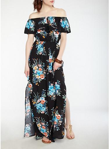 Printed Off the Shoulder Maxi Dress,BLACK,large