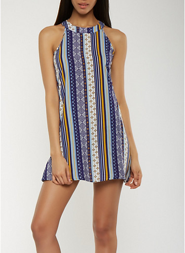 Printed Shift Dress,NAVY,large