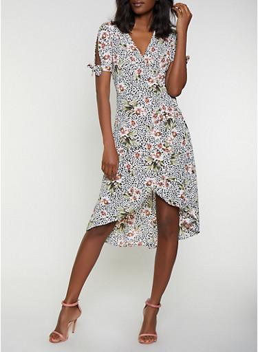 Leopard Floral Crepe Knit Wrap Dress,MULTI COLOR,large