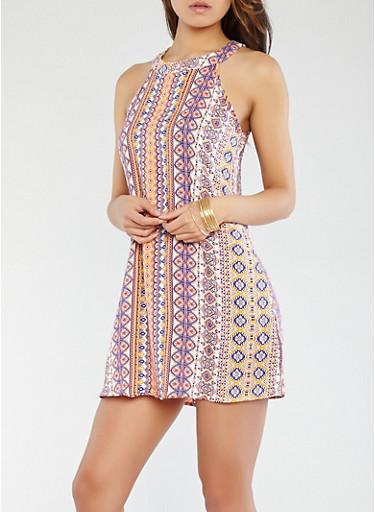 Printed Shift Dress,CORAL,large