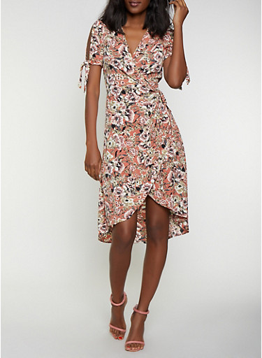 Floral Tie Sleeve Wrap Dress,BLUSH,large