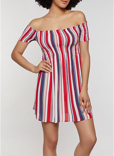 Striped Off the Shoulder Smocked Dress,RED,large