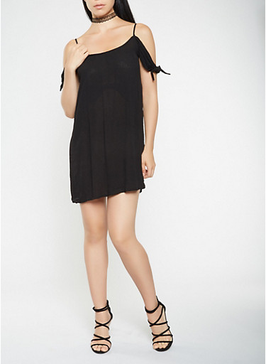 Caged Tie Sleeve Shift Dress,BLACK,large