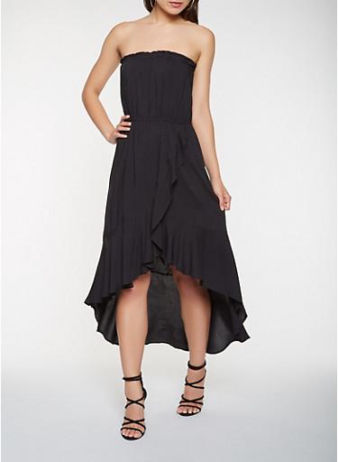 Strapless Asymmetrical Dress,BLACK,large