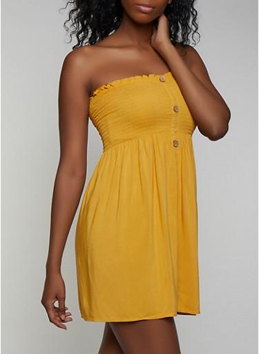 Smocked Button Strapless Dress,MUSTARD,large