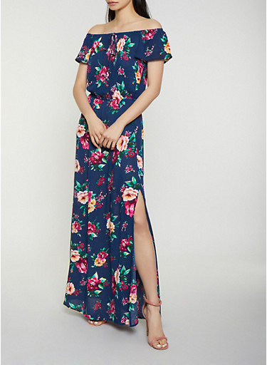 Gauze Knit Off the Shoulder Maxi Dress,NAVY,large