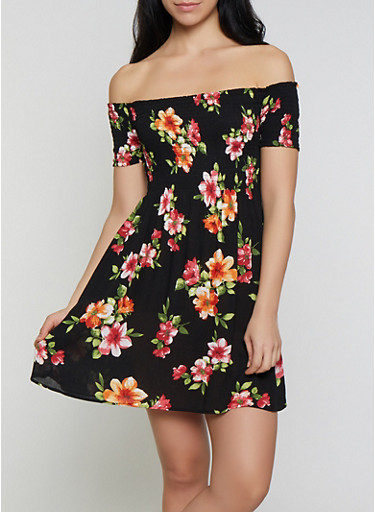 Floral Smocked Off the Shoulder Mini Dress,BLACK,large