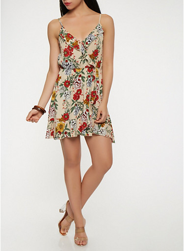 Floral Faux Wrap Ruffle Dress,TAUPE,large